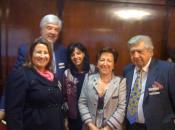 Pilar Farjas con Paloma Beltran y Salvador Arribas