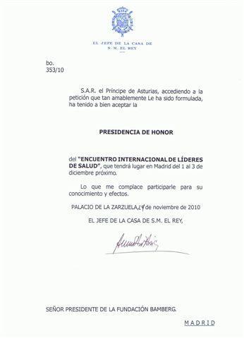 Presidencia de Honor de S.A.R. el Prícipe de Asturias